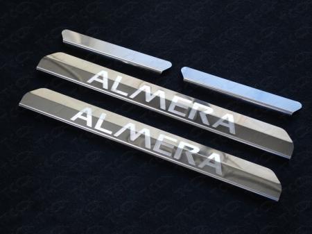 Nissan Almera 2014-Накладки на пороги (лист зеркальный надпись Almera)